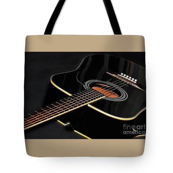Tote Bag featuring the photograph Guitar Low Key By Kaye Menner by Kaye Menner