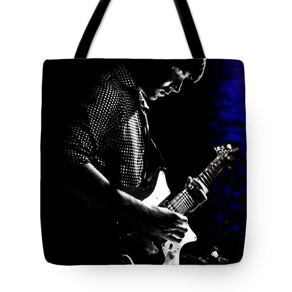 Guitar Man In Blue Tote Bag by Meirion Matthias