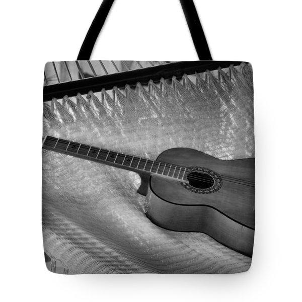 Guitar Monochrome Tote Bag by Jim Walls PhotoArtist