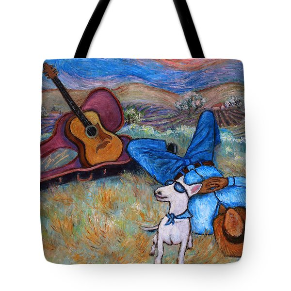 Tote Bag featuring the painting Guitar Doggy And Me In Wine Country by Xueling Zou