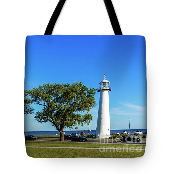 Gulf Coast Lighthouse Seascape Biloxi Ms 3663b Tote Bag