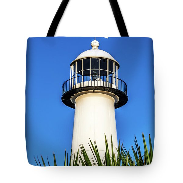 Gulf Coast Lighthouse Seascape Biloxi Ms 3819a Tote Bag