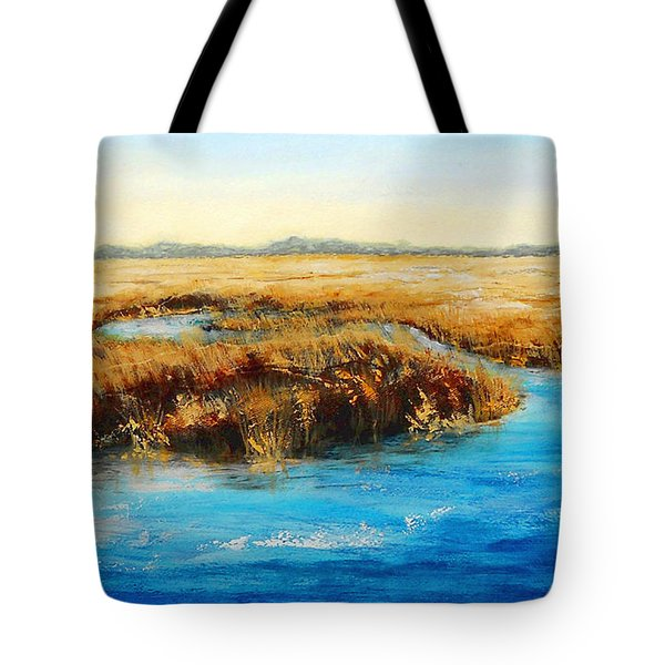 Gulf Coast Marsh I Original Fine Art Painting Tote Bag