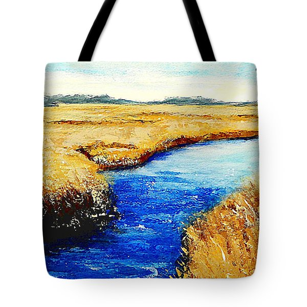 Gulf Coast Marsh II Detail Original Fine Art Painting Tote Bag