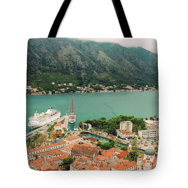 Gulf Of Kotor With Cruise Liner Tote Bag