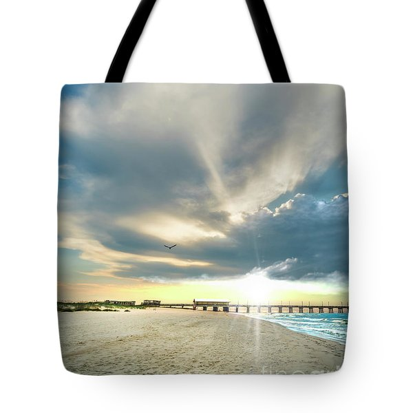 Gulf Shores Al Pier Seascape Sunrise 152a Tote Bag