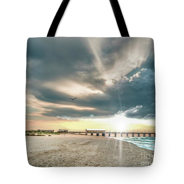 Gulf Shores Al Pier Seascape Sunrise 152c Tote Bag