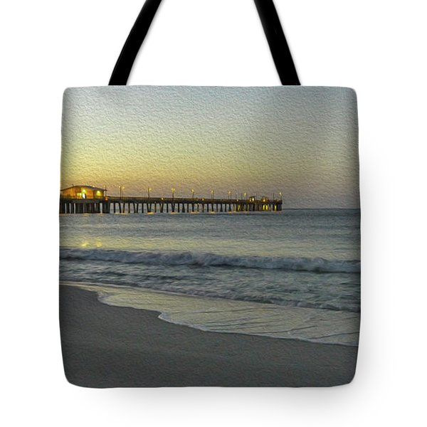 Tote Bag featuring the painting Gulf Shores Alabama Fishing Pier Digital Painting A82518 by Mas Art Studio