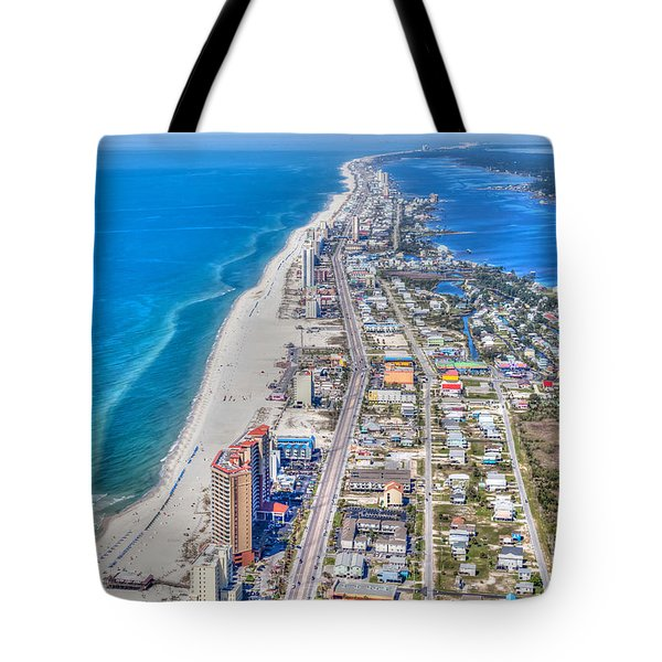 Tote Bag featuring the photograph Gulf Shores Beach Looking W by Gulf Coast Aerials -