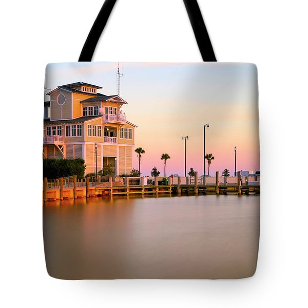 Tote Bag featuring the photograph Gulfport Harbor Master's Office - Mississippi - Sunset by Jason Politte