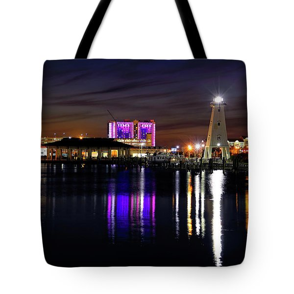 Tote Bag featuring the photograph Gulfport Lighthouse - Mississippi - Harbor by Jason Politte