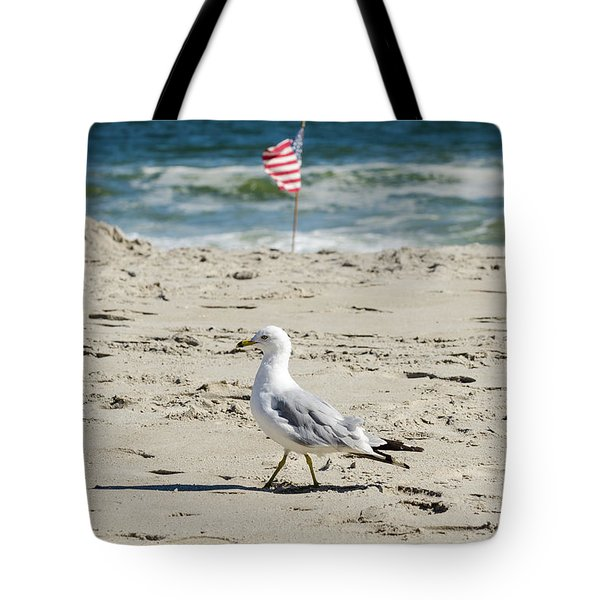 Gull And Flag Rockaway Beach Tote Bag by Maureen E Ritter