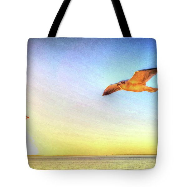 Tote Bag featuring the digital art Gull In Sky by Kathleen Illes