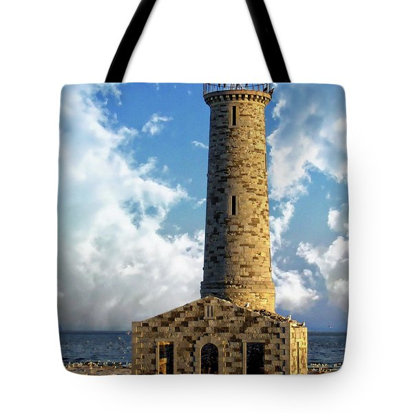 Gull Island Lighthouse Tote Bag