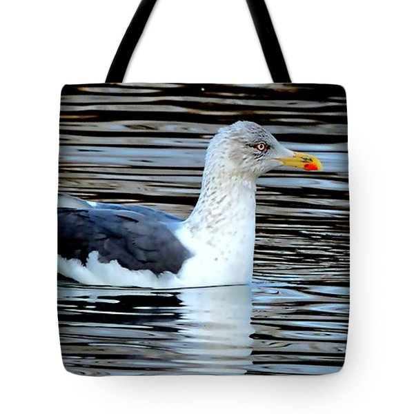 Gull On Winter's Pond  Tote Bag