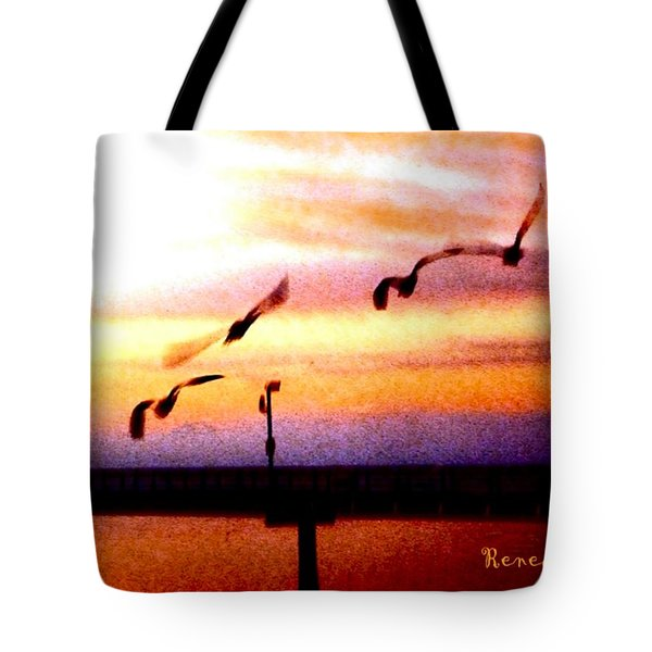 Tote Bag featuring the photograph Gull Play by Sadie Reneau