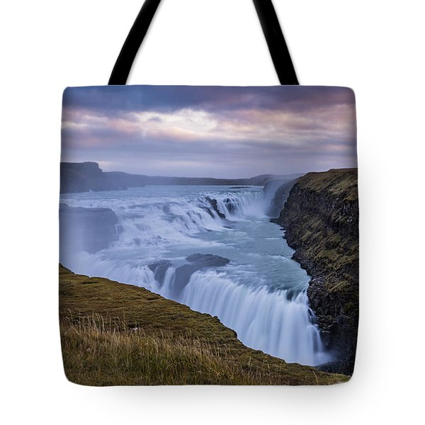 Tote Bag featuring the photograph Gullfoss, Sunrise by James Billings
