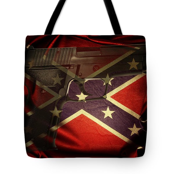 Gun And Confederate Flag Tote Bag