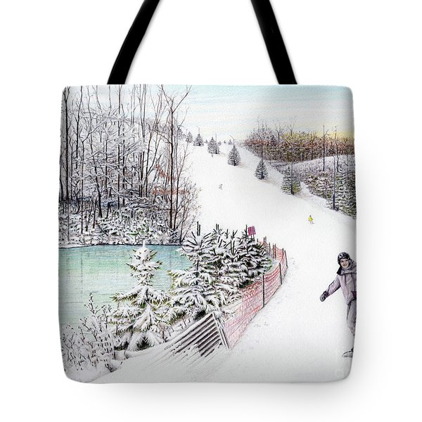 Tote Bag featuring the painting Gunnar Slope And The Ducky Pond by Albert Puskaric