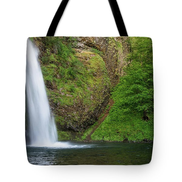Tote Bag featuring the photograph Gushing Horsetail Falls by Greg Nyquist