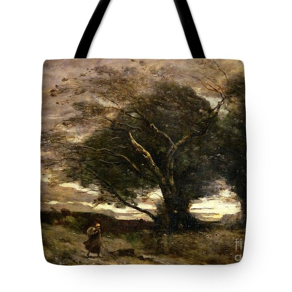 Gust Of Wind Tote Bag by Jean Baptiste Camille Corot