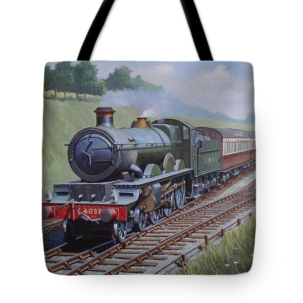 Tote Bag featuring the painting Gwr Saint Class by Mike  Jeffries