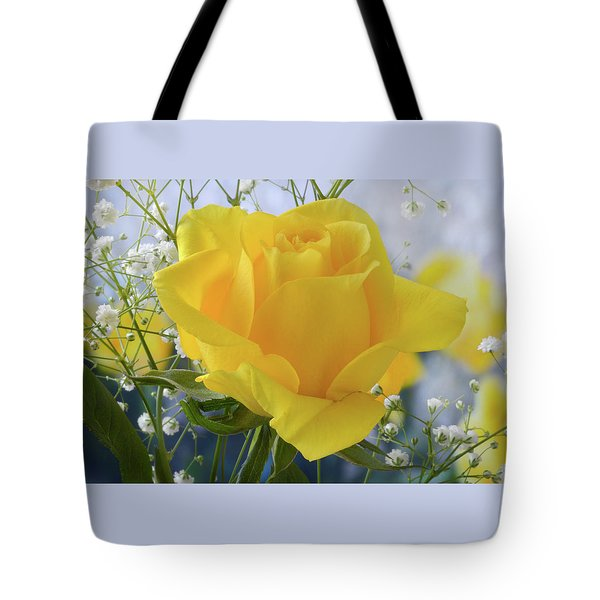 Tote Bag featuring the photograph Gypsophila And The Rose. by Terence Davis