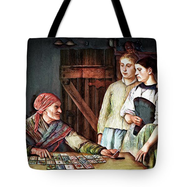Tote Bag featuring the digital art Gypsy Card Reader by Pennie McCracken
