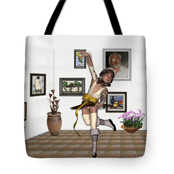 Tote Bag featuring the mixed media Digital Exhibartition _  Dancing Girl  by Pemaro