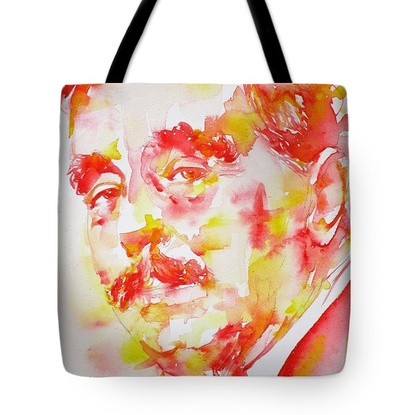 Tote Bag featuring the painting H. G. Wells - Watercolor Portrait by Fabrizio Cassetta