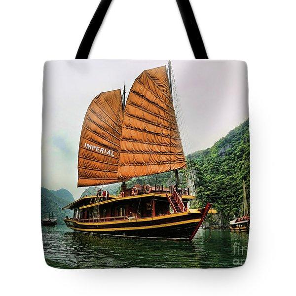 Ha Long Vessel Brown  Tote Bag by Chuck Kuhn