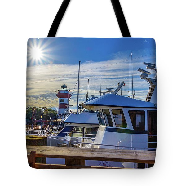 Habour Town Lighthouse And Marina Tote Bag