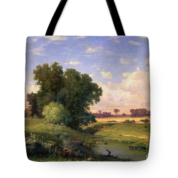 Hackensack Meadows - Sunset Tote Bag by George Snr Inness