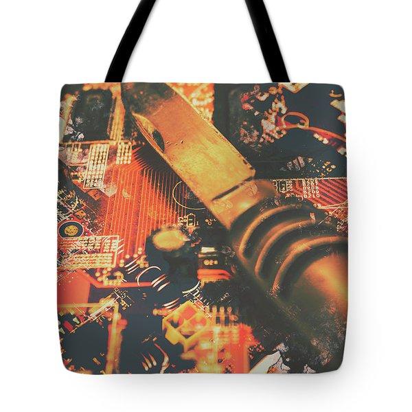 Hacking Knife On Circuit Board Tote Bag