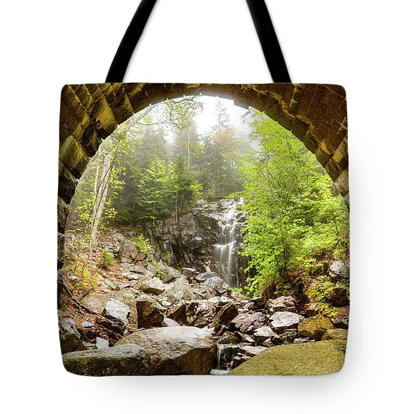 Tote Bag featuring the photograph Hadlock Falls Under Carriage Road Arch by Jeff Folger