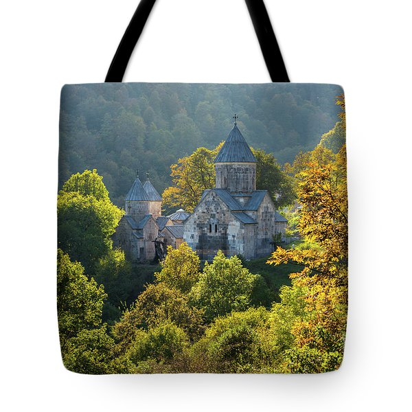 Haghartsin Monastery With Trees In Front At Autumn, Armenia Tote Bag