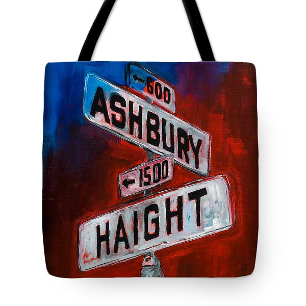 Tote Bag featuring the painting Haight And Ashbury by Elise Palmigiani