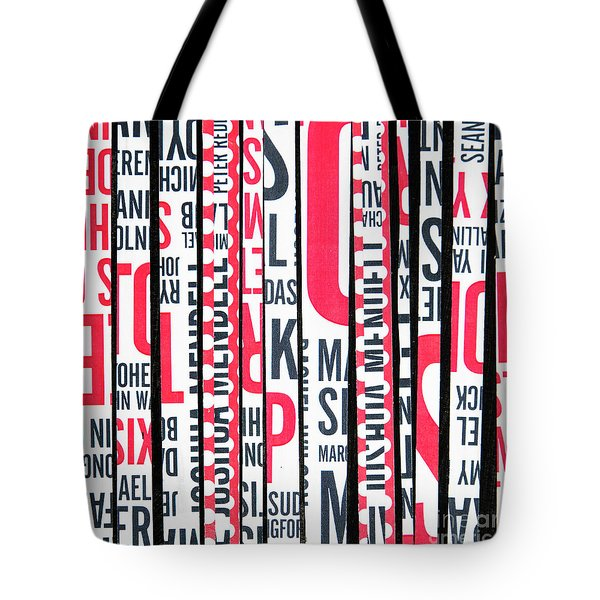 Tote Bag featuring the mixed media Haiku In Red And Black by Elena Nosyreva