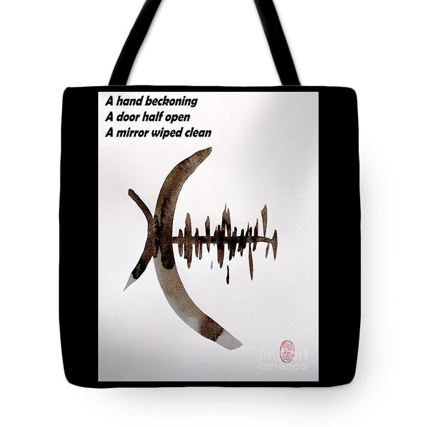 Haiku Poem And Painting Tote Bag by Roberto Prusso