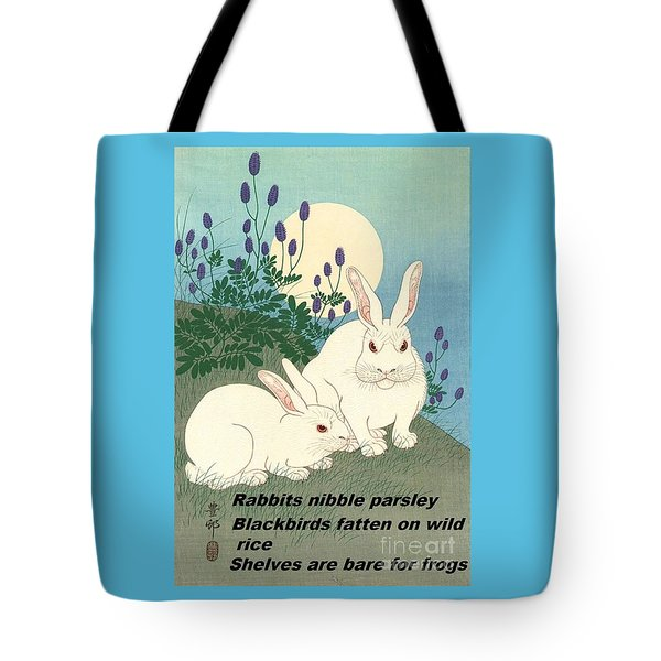 Tote Bag featuring the painting Haiku  Rabbits Nibble Parsley by Pg Reproductions