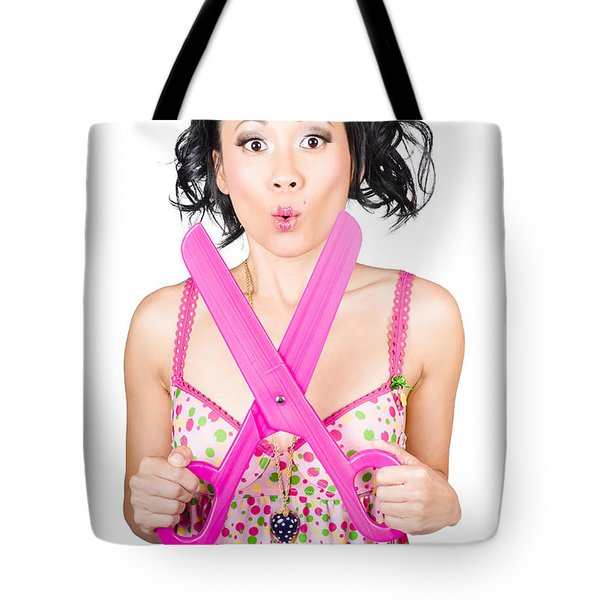 Hair And Beauty Model With Comic Scissor. Haircut Tote Bag