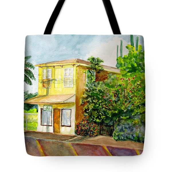 Tote Bag featuring the painting Hairbenders Of Paia by Eric Samuelson