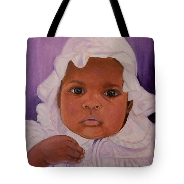 Tote Bag featuring the painting Haitian Baby Orphan by Quwatha Valentine