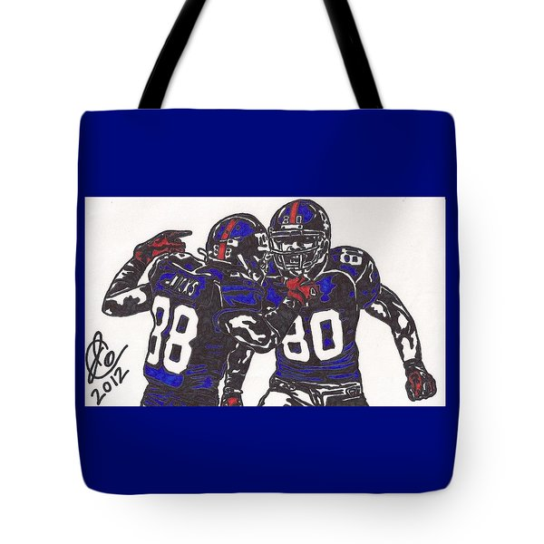 Hakeem Nicks And Victor Cruz Tote Bag by Jeremiah Colley