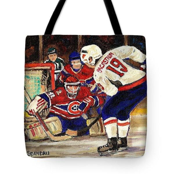 Halak Blocks Backstrom In Stanley Cup Playoffs 2010 Tote Bag by Carole Spandau