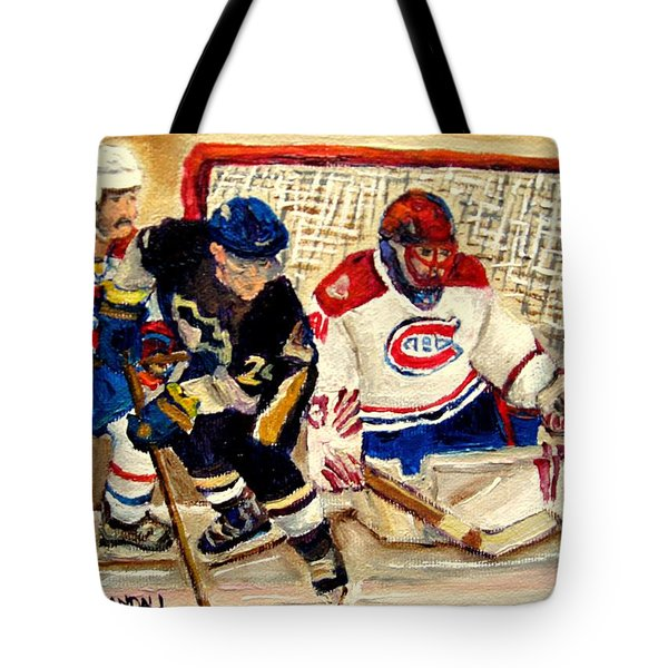 Halak Catches The Puck Stanley Cup Playoffs 2010 Tote Bag by Carole Spandau