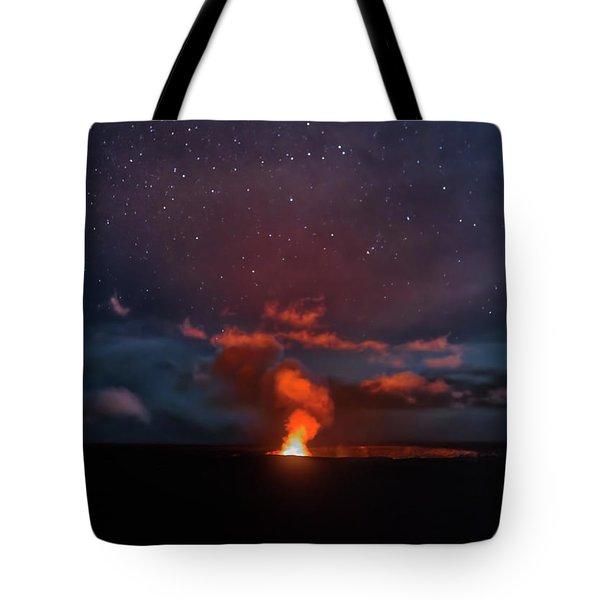 Halemaumau Crater At Night Tote Bag