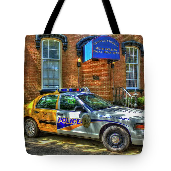 Tote Bag featuring the photograph Half And Half What Is It Manna Savannah Georgia Police Art by Reid Callaway
