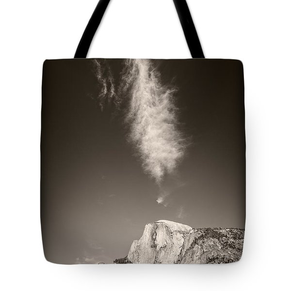 Tote Bag featuring the photograph Half Dome And Cloud by Bryan Mullennix