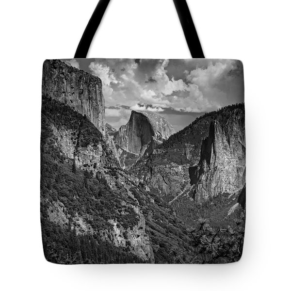 Half Dome And El Capitan In Black And White Tote Bag by Rick Berk